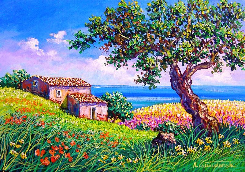 campagna dipinto, paesaggio di campagna, alberi dipinti, paesaggio siciliano