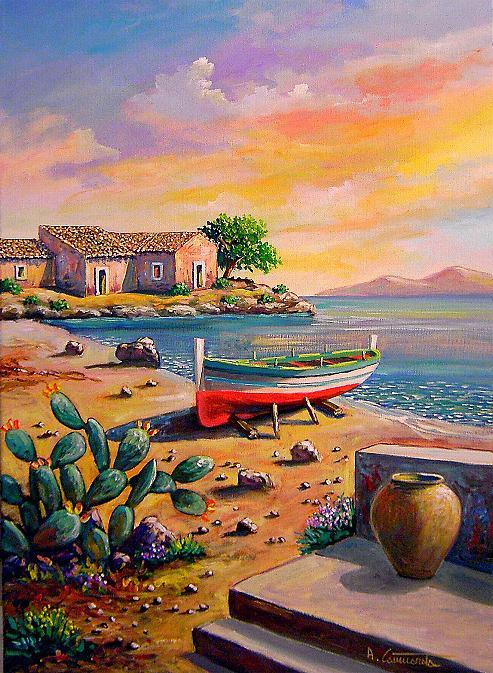 barche, marine, dipinti barche, dipinti marine, tramonti dipinti