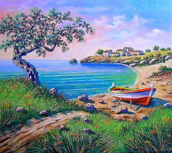 paesi dipinti, angoli di paese dipinti, scorci di paese, case antiche dipinte